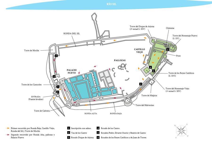 Plano de recorrido por el Castillo de los Templarios