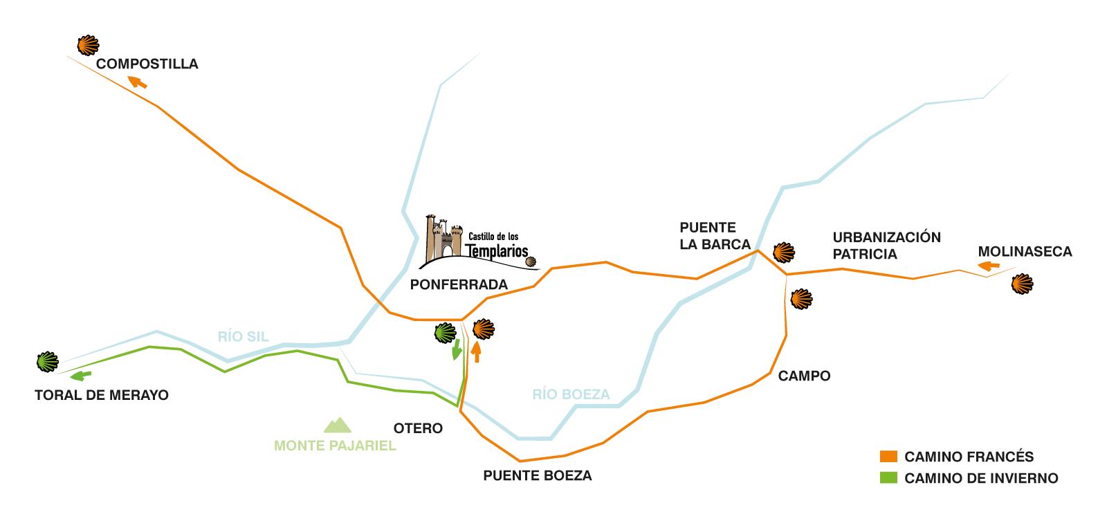 Camino Francés y Camino de Invierno a su paso por Ponferrada